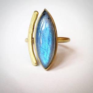 anello regolabile ottone e labradorite